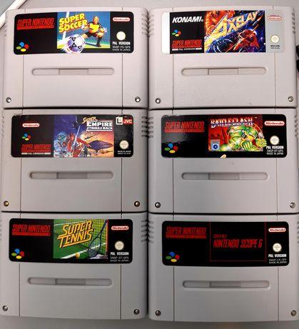 Coleção de Jogos Super Nintendo/SNES: Axelay, Star Wars, Mario, Tennis