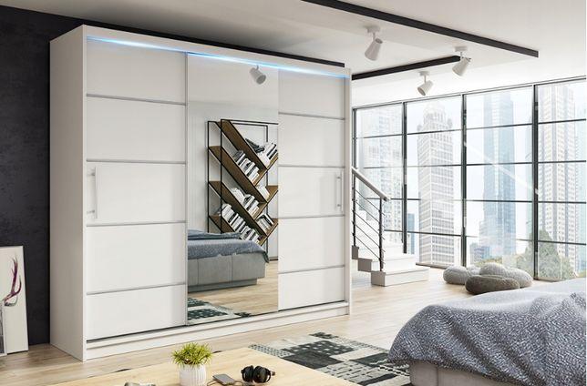 MOLI szafa trzydrzwiowa 180 cm z lustrem wieszaki, półki