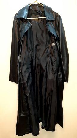 Płaszcz damski czarny skóra oryginał Włochy.