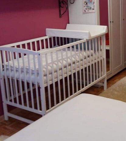 Łóżeczko - łóżko niemowlęce - sosnowe - białe z szufladą + materac