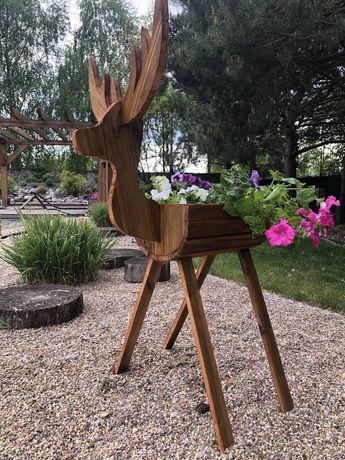 Jelonek drewniany jeleń doniczka ozdoba ogrodowa