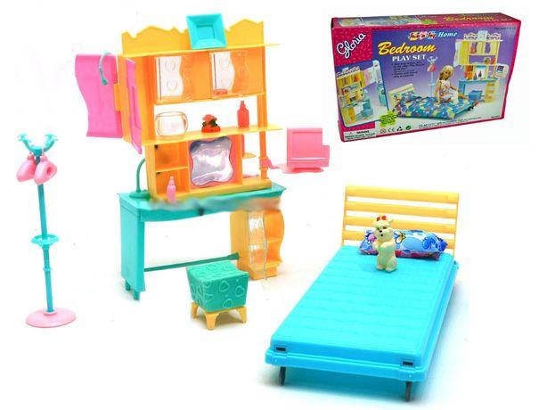 Sypialnia pokój łóżko szafa pies meble dla lalki Barbie