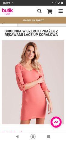 Sukienka ołówkowa koral 36