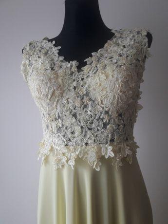 Sukienka, suknia długa na wesele, studniówkę koronka 36