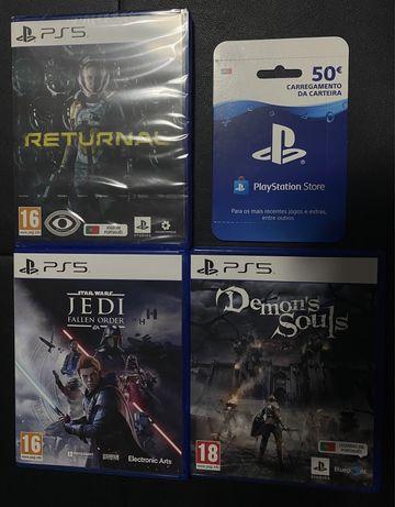 Vendo Jogos PS5 Returnal, Star Wars, Demons Souls, PSN Store 50€ CARD