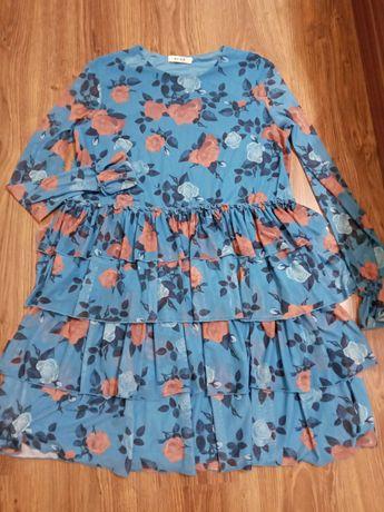 Sukienka w kwiaty turkusowa niebieska 40,42 L/XL nowa falbany