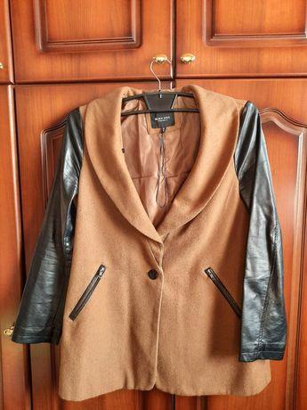 Пальто. пальто с кожаными рукавами. Весеннее пальто. Осеннее пальто