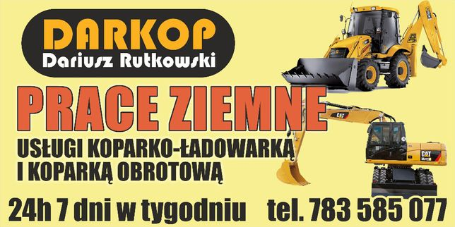 Usługi Koparko-Ładowarką Koparka Kołowa Prace Ziemne Wykopy Sztum