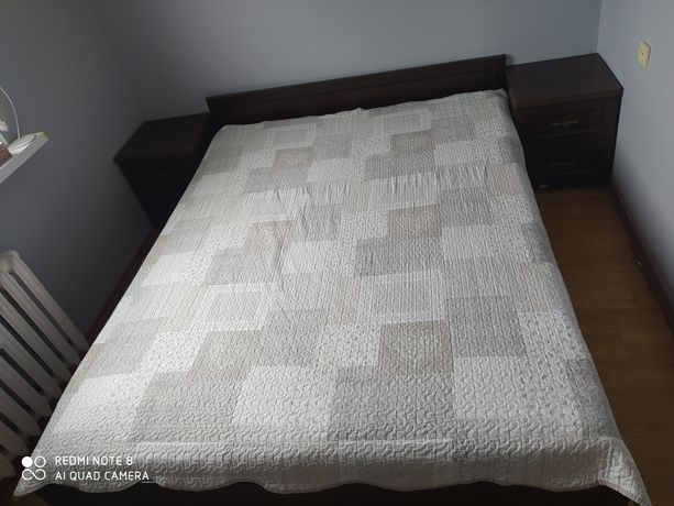 Łóżko 160/200+ stelaż+ materac+ dwie szafki nocne