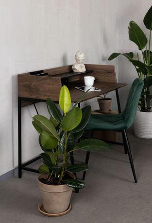 OLX-388 Małe biurko z nadstawką Linato 103 cm orzech/czarne