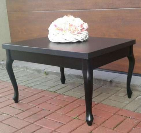 Elegancki stolik kawowy, ława, Ludwik prowansalski, czarny, biały