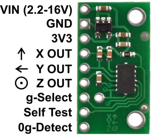 MMA7361LC 3-osiowy akcelerometr analogowy z reg. - moduł Pololu