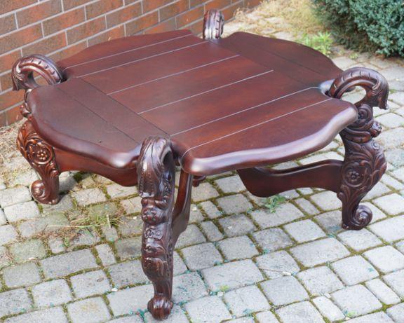 stolik kawowy drewniany ława antyki rzeźbiony stół
