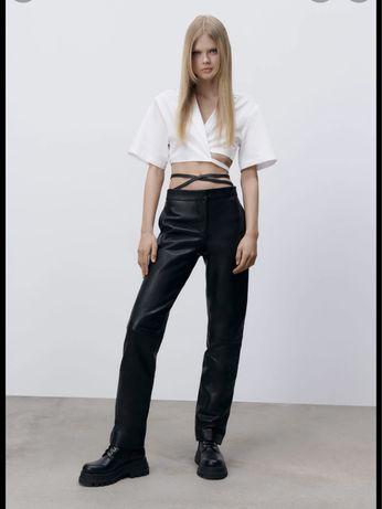 Zara spodnie skórzane roz S 36 Czarne nowe mous