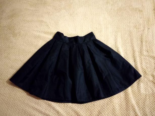 Приссированная юбка черная высокая посадка для девочки