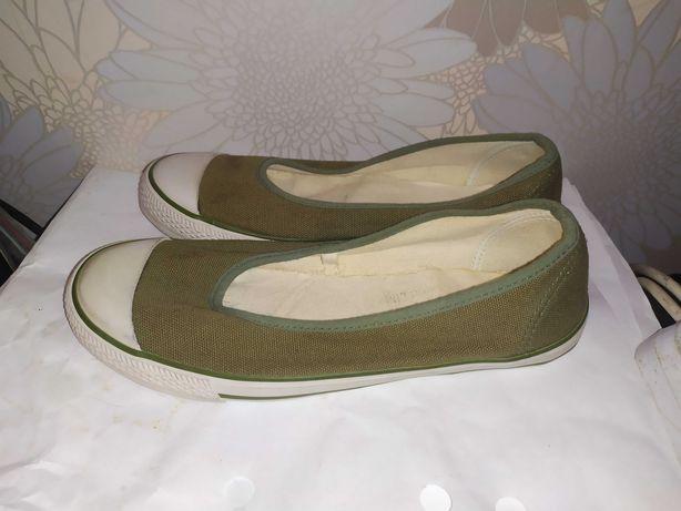 Кеды туфли балетки 37 новые цвет оливковый хаки