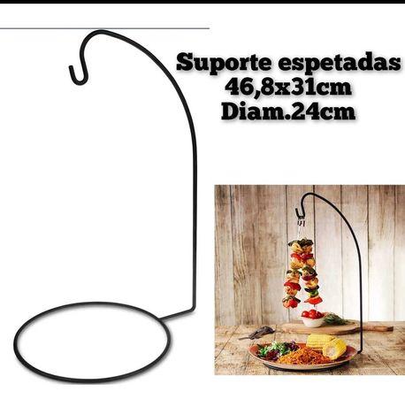 Suporte espetadas churrasco suspenso alto ferro stand barbaque bbq