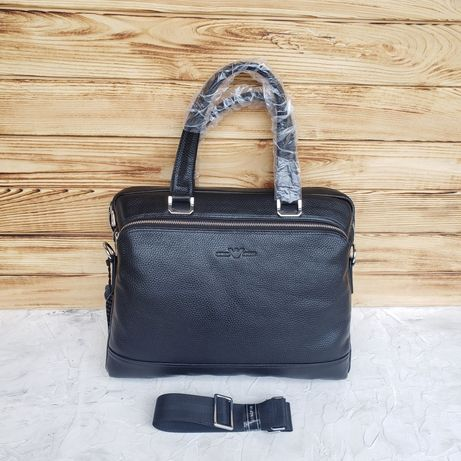 Мужской кожаный стильный портфель Giorgio Armani чоловічий шкіряний