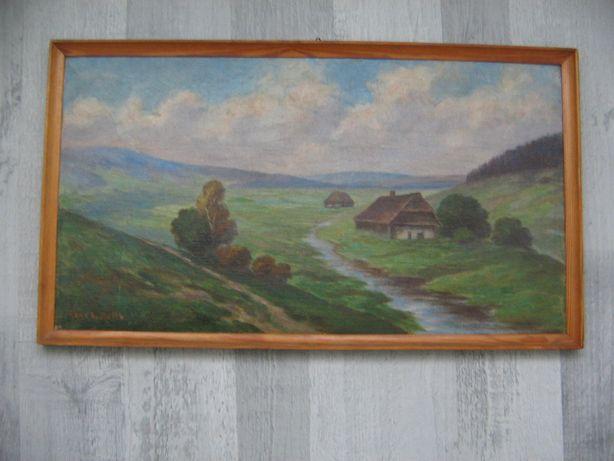 Stary obraz góry pejzaż potok 47,5 x 27