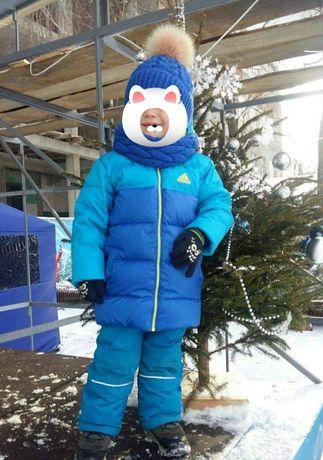Зимний комбинезон +шапка хомут+перчатки  3-4г.104см
