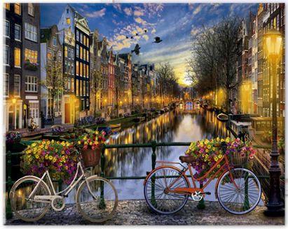 Obraz na płótnie do malowania po numerach *Amsterdam mostek rowery** *