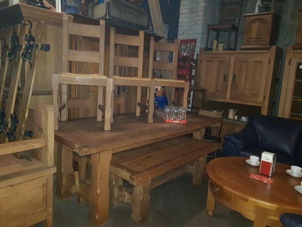 Dębowy stół + 6 krzeseł