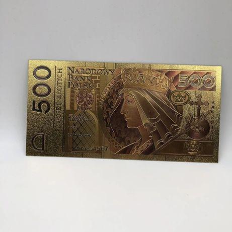 Królowa Jadwiga 500 ZŁ pokryte 24k złotem kolor
