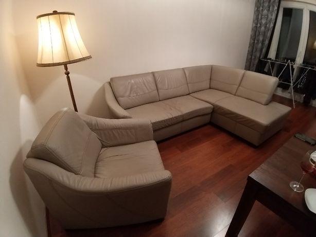 Komplet wypoczynkowy, meble skórzane kanapa z leżanką plus 2 fotele