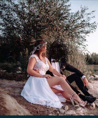 Suknia ślubna biała nowoczesna body rozporek rozmiar M