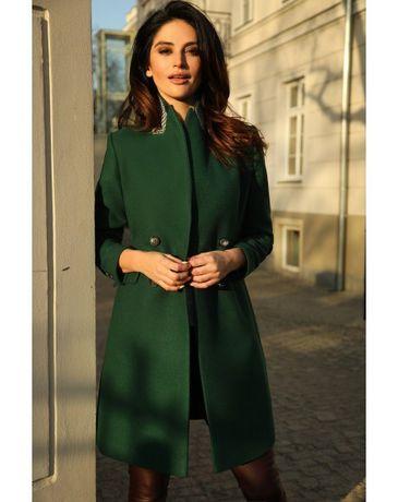 NOWY!!! Piękny płaszcz wiosenny jesienny PUDROWY KREM rozm. S