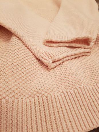 Bawełniany sweterek w kolorze pudrowego różu rozmiar 44