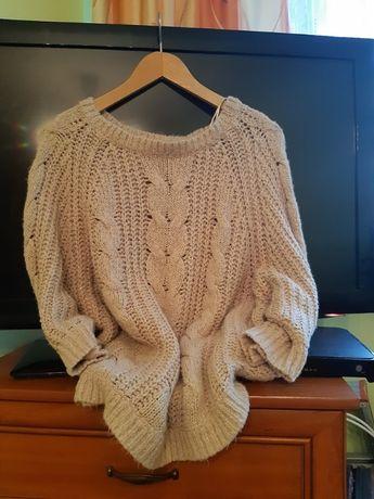 Sweter brudny roz z drobinkami zlota sliczny duzy