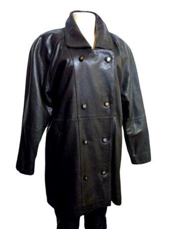 Фирменный черный кожаный тренч, куртка, полу пальто на синтепоне