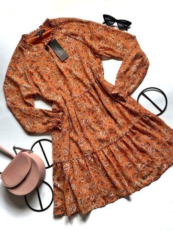 Шыфоновое платье в цветы от amisu/ цветочный принт терракотовое