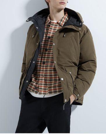 Куртка чоловіча хакі мужская zara осіння-зимова осень зима