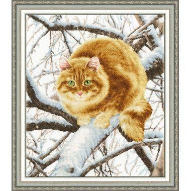 """Картина """"Рыжий кот"""", вышитая крестом"""