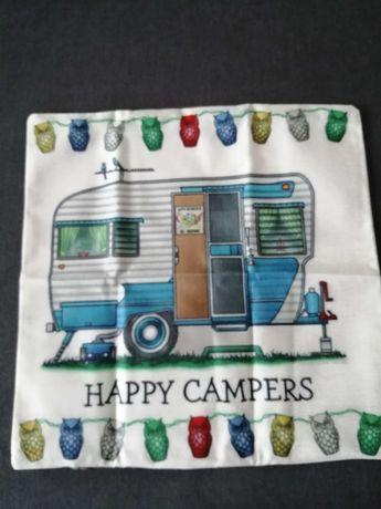 Poszewka happy camper, kamping, namiot