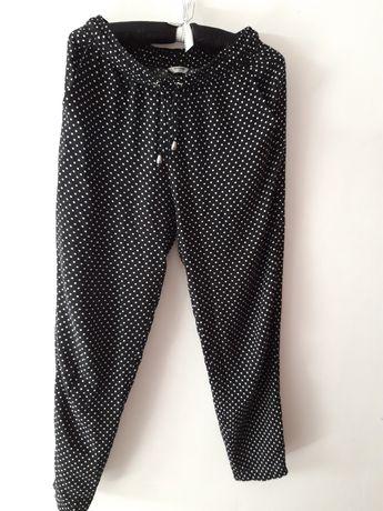 Lekkie, zwiewne spodnie czarne białe kropki 36 S