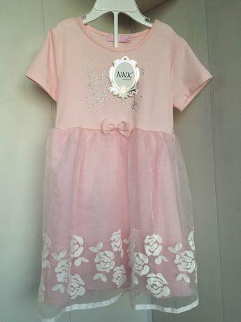 Платье новое стразы вышивка сетка 100-110 см