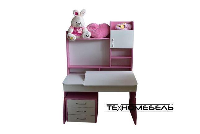 Детская парта - письменный стол от 3-х до 18 лет бело-розовый