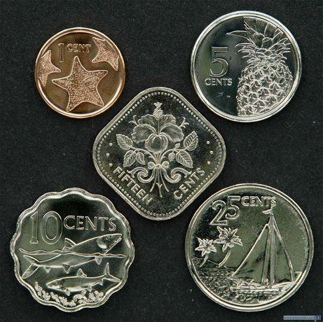 Набор монет 1, 5, 10, 25, 50 центов 2005 Багамские острова