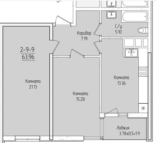 2-х комнатная квартира в 60 Жемчужине от Кадорр.