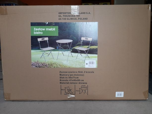 Nowy Zestaw mebli ogrodowych stół + dwa krzesła.
