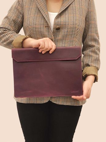 Кожаный чехол для ноутбука MacBook Air и Pro Folder бордовый цвета
