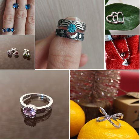 Серебро, кольца , серьги