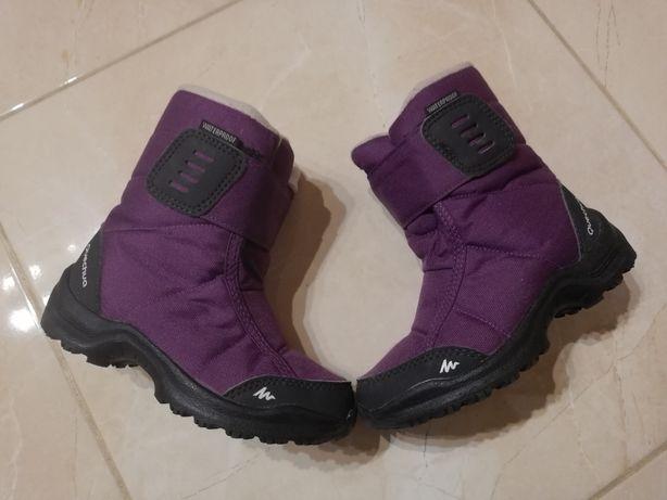 Quechua śniegowce wodoodporne fioletowe 36 22cm na rzep