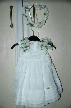 Натуральное, качественное платье на крестины, фотосессию. 0-4 мес