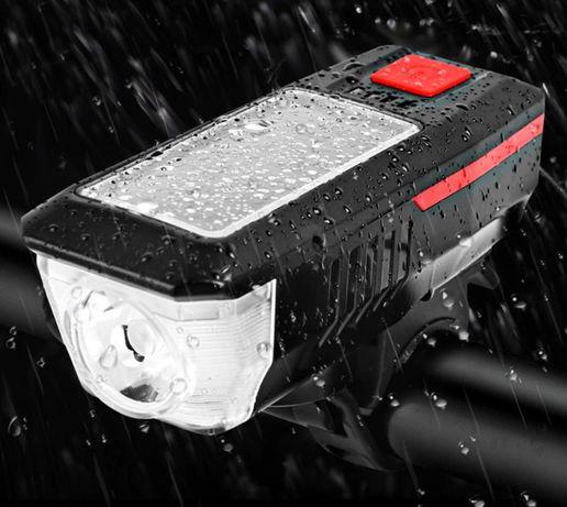 Велосипедная фара, фонарь для самоката на солнечной батарее + сигнал