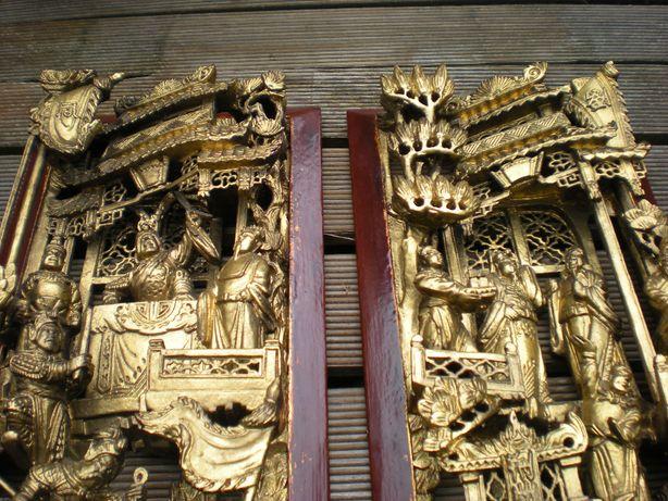 Piękne 2 Rzeżbione w Drewnie Panele Chiny