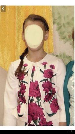Костюм нарядный, платье и пиджак выпускной для девочки 10 лет